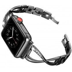 Apple Watch 42mm & 44mm Premium Armband Rostfritt Stål med Strass