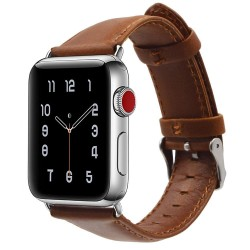 Apple Watch 40mm Stilren Läderarmband - Ljusbrun
